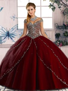 Beading Quince Ball Gowns Wine Red Lace Up Cap Sleeves Brush Train