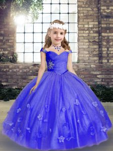 Custom Designed Straps Sleeveless Tulle Kids Formal Wear Beading and Hand Made Flower Lace Up
