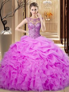 Floor Length Lace Up Sweet 16 Quinceanera Dress Lilac for Sweet 16 and Quinceanera with Beading and Pick Ups