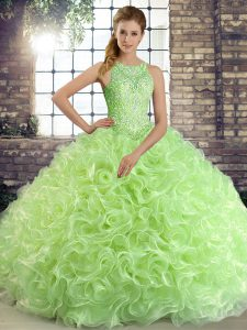 Scoop Sleeveless Ball Gown Prom Dress Floor Length Beading Fabric With Rolling Flowers