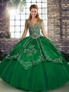 Green Quince Ball Gowns Military Ball and Sweet 16 and Quinceanera with Beading and Embroidery Straps Sleeveless Lace Up