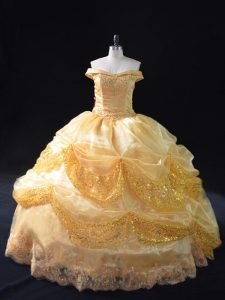 Inexpensive Floor Length Lace Up Sweet 16 Dress Gold for Sweet 16 and Quinceanera with Beading and Pick Ups
