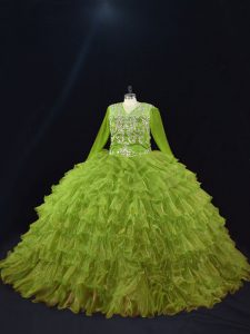 Olive Green Organza Lace Up V-neck Long Sleeves Floor Length Ball Gown Prom Dress Ruffled Layers