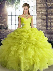 Glorious Yellow Green Ball Gowns Off The Shoulder Sleeveless Organza Floor Length Lace Up Beading and Ruffles and Pick Ups Quinceanera Gowns