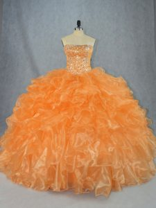 Orange Strapless Neckline Beading and Ruffles Sweet 16 Dresses Sleeveless Lace Up