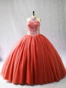 On Sale Red Quinceanera Gowns Sweet 16 and Quinceanera with Beading Halter Top Sleeveless Brush Train Lace Up