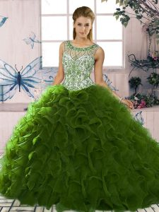 Simple Green Sleeveless Floor Length Beading and Ruffles Lace Up Quinceanera Gown