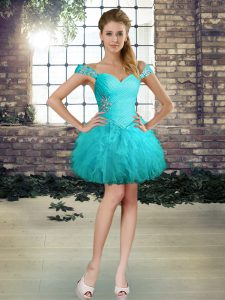 Wonderful Aqua Blue Off The Shoulder Neckline Beading and Ruffles Homecoming Dress Sleeveless Lace Up