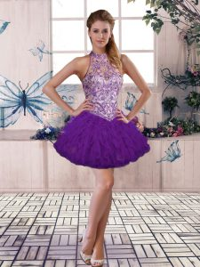 Super Halter Top Sleeveless Lace Up Prom Party Dress Purple Tulle
