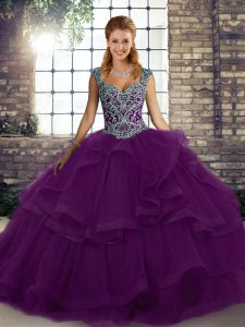 Trendy Straps Sleeveless Tulle Quinceanera Gown Beading and Ruffles Lace Up