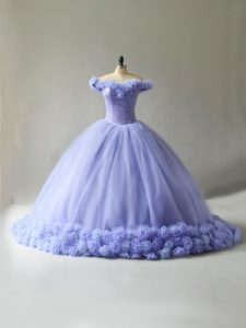 Lavender Sleeveless Tulle Court Train Lace Up Sweet 16 Dress for Sweet 16 and Quinceanera