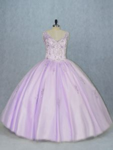 Popular V-neck Sleeveless Sweet 16 Quinceanera Dress Floor Length Beading Lavender Tulle