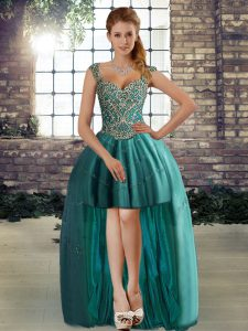 Teal Sleeveless Tulle Lace Up Prom Evening Gown for Prom and Party