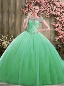 Stylish Green Ball Gowns Tulle Off The Shoulder Sleeveless Beading Floor Length Lace Up Quinceanera Gown