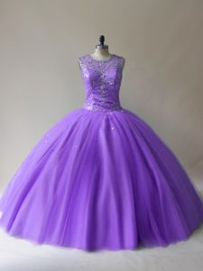 Best Selling Sleeveless Tulle Floor Length Lace Up Sweet 16 Dress in Lavender with Beading