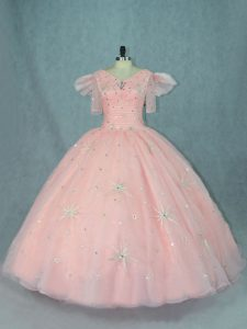 Peach Zipper V-neck Beading Quinceanera Gown Organza Short Sleeves