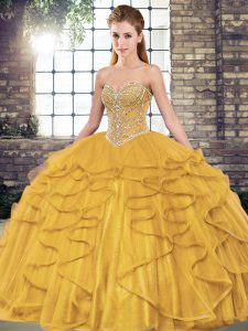 Modern Sleeveless Tulle Floor Length Lace Up 15th Birthday Dress in Gold with Beading and Ruffles