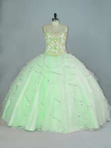 Apple Green Straps Neckline Beading and Ruffles Sweet 16 Dresses Sleeveless Lace Up