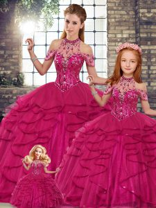 Fuchsia Lace Up Halter Top Beading and Ruffles Vestidos de Quinceanera Tulle Sleeveless