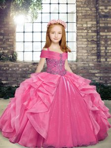 Enchanting Floor Length Ball Gowns Sleeveless Pink Little Girl Pageant Gowns Lace Up
