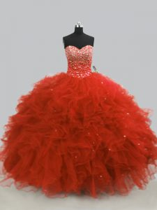Rust Red Sleeveless Tulle Lace Up Quinceanera Gown for Sweet 16 and Quinceanera