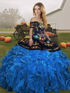 Beautiful Blue And Black Ball Gowns Embroidery and Ruffles Quinceanera Dresses Lace Up Organza Sleeveless Floor Length