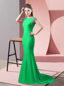 Wonderful Elastic Woven Satin High-neck Short Sleeves Brush Train Backless Beading Prom Dress in Green