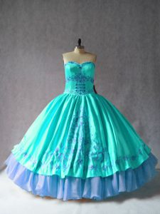 High Quality Embroidery Quinceanera Dress Aqua Blue Lace Up Sleeveless Floor Length