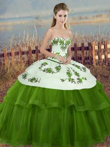 Classical Green Sleeveless Embroidery and Bowknot Floor Length Quinceanera Gowns