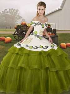 Graceful Off The Shoulder Sleeveless Brush Train Lace Up Quinceanera Dresses Olive Green Tulle