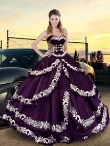 Luxury Purple Sleeveless Satin and Silk Like Satin Lace Up 15 Quinceanera Dress for Sweet 16 and Quinceanera