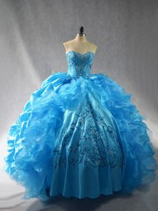 Discount Embroidery and Ruffles Sweet 16 Dress Baby Blue Lace Up Sleeveless Floor Length
