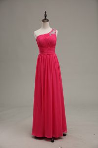 One Shoulder Sleeveless Zipper Prom Party Dress Hot Pink Chiffon and Fabric With Rolling Flowers