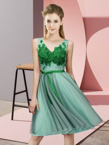 High Quality Apple Green V-neck Lace Up Appliques Quinceanera Court Dresses Sleeveless