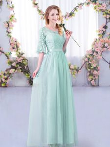Decent Light Blue Side Zipper Damas Dress Lace and Belt Half Sleeves Floor Length