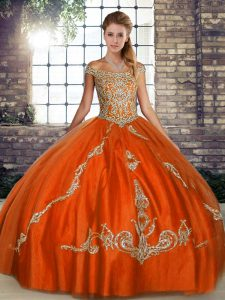 Noble Off The Shoulder Sleeveless Lace Up Ball Gown Prom Dress Orange Red Tulle
