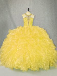 Decent Ball Gowns Ball Gown Prom Dress Gold Scoop Organza Sleeveless Floor Length Zipper