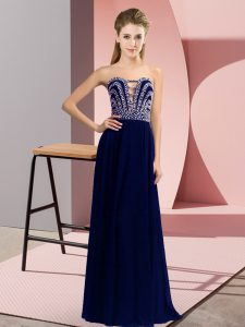 Dramatic Blue Sleeveless Chiffon Lace Up for Prom and Party