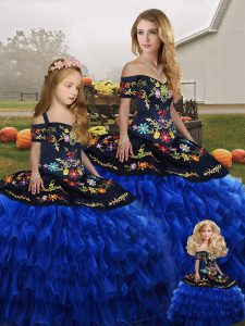 Blue And Black Sleeveless Organza Lace Up Quince Ball Gowns for Military Ball and Sweet 16 and Quinceanera