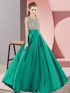 Fine Turquoise Empire Scoop Sleeveless Elastic Woven Satin Floor Length Backless Beading Evening Dress