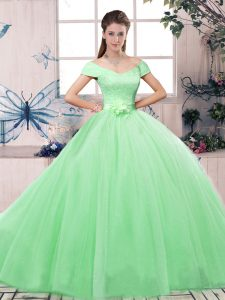 Stylish Short Sleeves Lace and Hand Made Flower Lace Up Quinceanera Dress