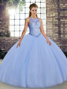 Colorful Lavender Scoop Lace Up Embroidery Ball Gown Prom Dress Sleeveless