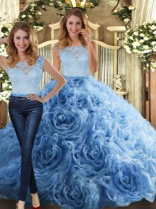 Luxury Baby Blue Two Pieces Fabric With Rolling Flowers Scoop Sleeveless Lace Floor Length Zipper 15 Quinceanera Dress