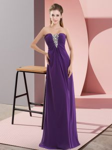 Purple Sweetheart Neckline Beading Homecoming Dress Sleeveless Zipper