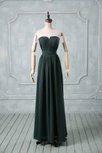 Green Empire Strapless Sleeveless Chiffon Floor Length Zipper Ruching Dress for Prom