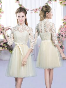 Romantic Mini Length Empire Half Sleeves Champagne Bridesmaid Gown Lace Up