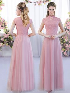 Romantic Pink Cap Sleeves Lace Floor Length Wedding Party Dress