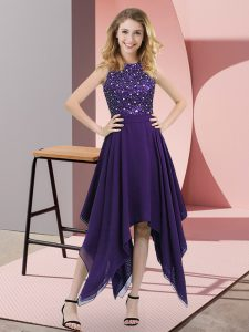 Pretty Sleeveless Chiffon Asymmetrical Zipper Homecoming Dress in Purple with Beading and Sequins
