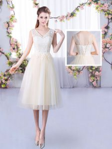 Dynamic Tea Length Lace Up Bridesmaid Dresses Champagne for Wedding Party with Lace