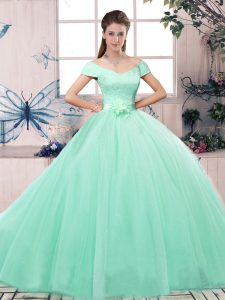 Apple Green Short Sleeves Lace and Hand Made Flower Floor Length Ball Gown Prom Dress